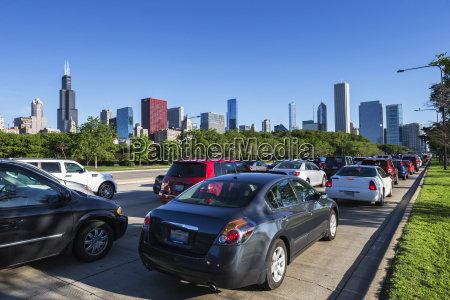 usa illinois chicago traffic jam on