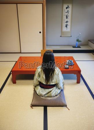 tee tradition rueckansicht japanisch indoor japaner