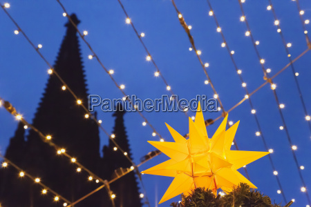 germany cologne lighted christmas star with