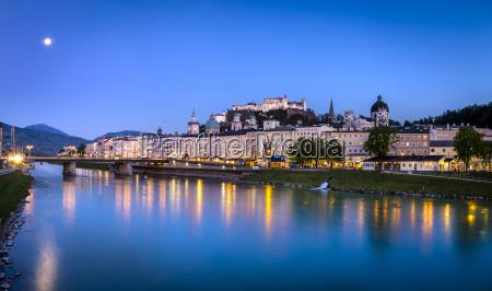 austria salzburg cityscape with river salzach