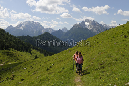 germany bavaria hikers on ramsau mountain