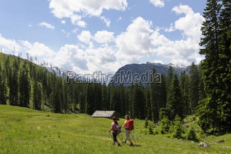 germany bavaria hikers on ramsau mountain