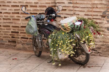 marokko marrakesch geparkt moped mit taschen