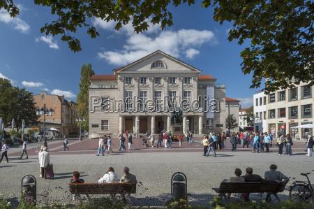 germany thuringia weimar theaterplatz view of
