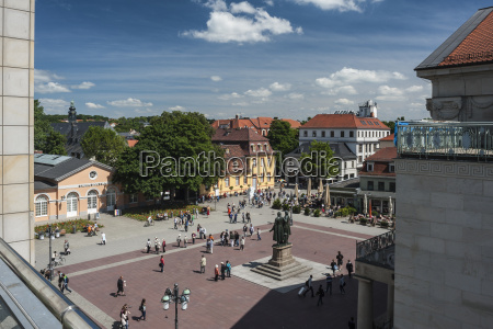 germany thuringia weimar theaterplatz view of