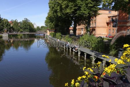 sweden uppsala promenade at the river
