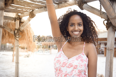 portrait of happy young woman at
