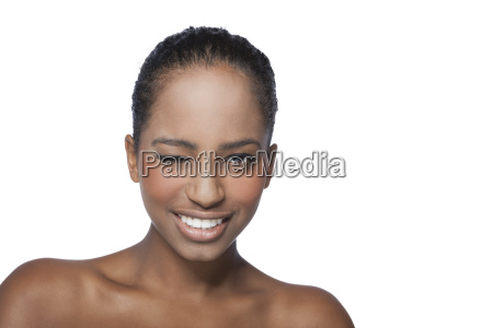 portrait of twinkling young woman smiling