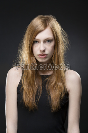 portrait of young woman in black
