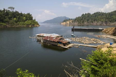 malaysia sarawak broken house floating on