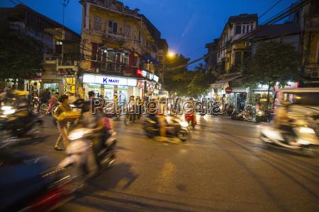 vietnam hanoi traffic in old town