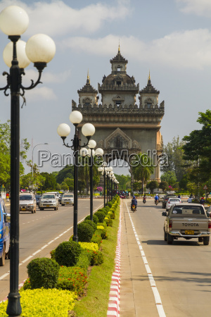 loas vientiane view of patuxai victory