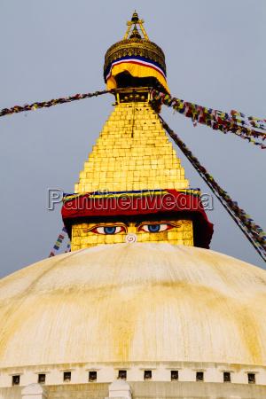 nepal kathmandu bodnath stupa heiligtum mit