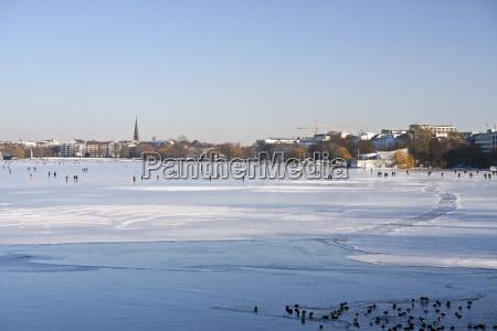 germany hamburg view of the frozen
