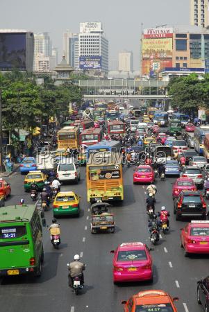 thailand bangkok rush hour at ratchadamri