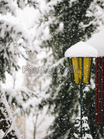 germany black forest lantern in winter