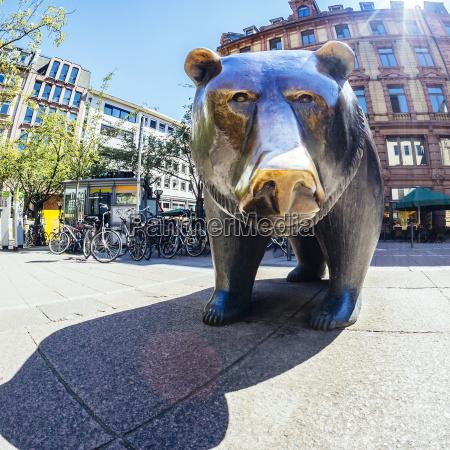 germany frankfurt bear bronze sculpture at