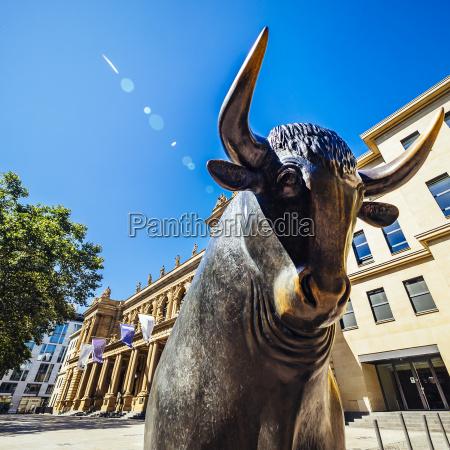 germany frankfurt bull bronze sculpture at