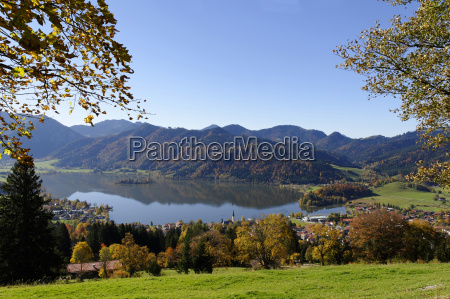 germany bavaria lake and town schliersee