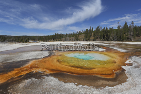 view of chromatic spring at yellowstone