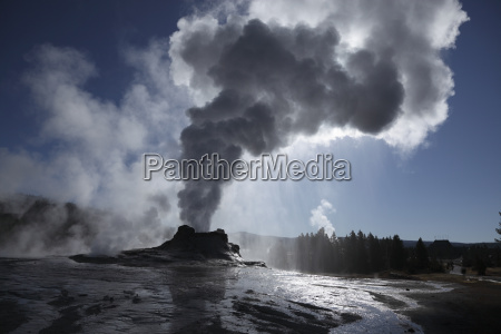 view of castel geyser at yellowstone