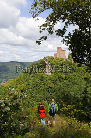 germany annweiler am trifels hikers at