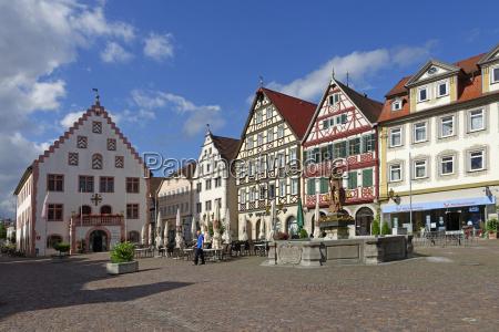 germany bad mergentheim market square with