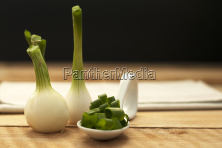 spoon of chopped spring onions on