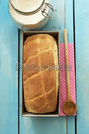 white bread in baking tray with