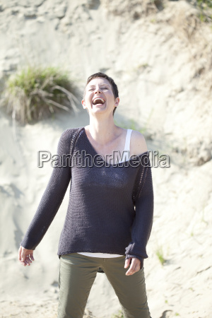 portrait of laughing woman in front