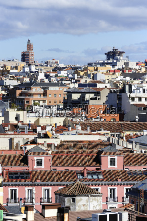 spain madrid city center roofs of