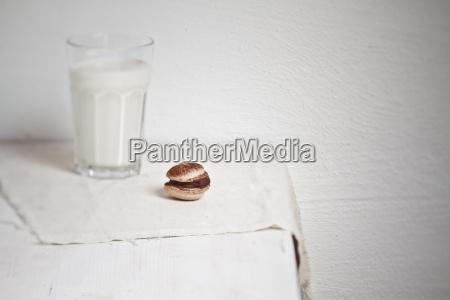 macarons with chocolate ganache and glass