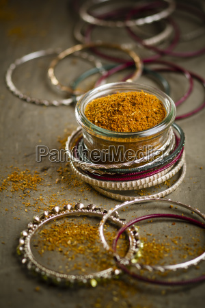 indian bangles with jar of garam