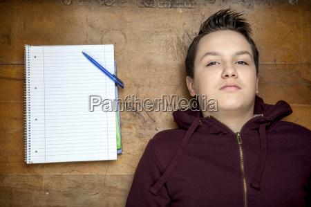 portrait of serious looking teenage boy