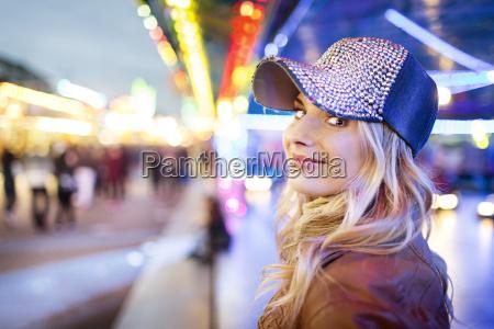 young woman at fun fair