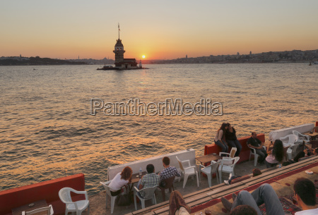 turkey istanbul people sitting in cafe