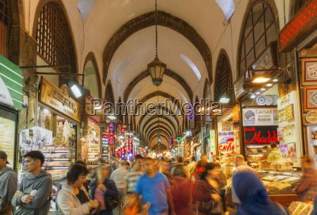 turkey istanbul people at egyptian bazaar