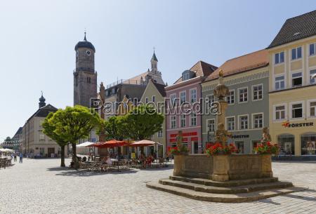 germany bavaria pfaffenwinkel weilheim marienolatz with