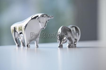 miniature sculptures of bull and bear