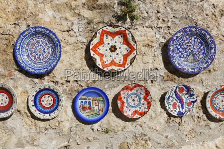 turkey antalya painted ceramic plates on