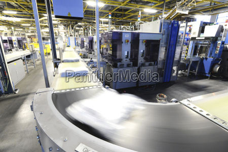 germany production line with packed newspapers