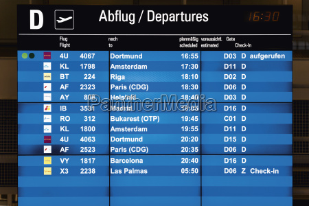 germany arrival departure board at airport