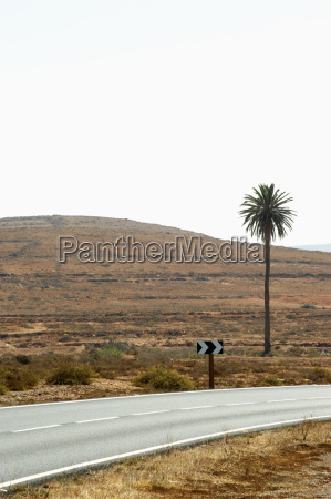 spain fuerteventura landscape with road and