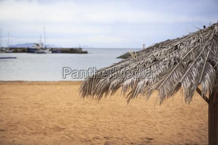 portugal madeira machico beach umbrella at