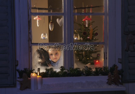 germany boy waiting for santa claus