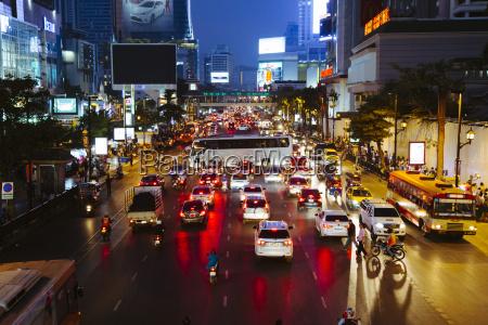 thailand bangkok traffic jam at night