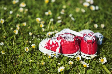 paare der roten turnschuhe eines babys
