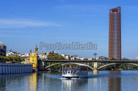 spain andalusia sevilla cityscape with guadalquivir