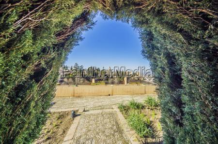 spain andalusia granada cityscape from garden