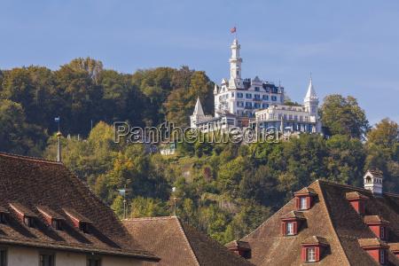 switzerland luzern view to castle hotel